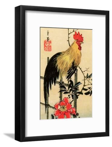 Rooster on Trellis for Climbing Rose, 1854-Utagawa Hiroshige-Framed Art Print