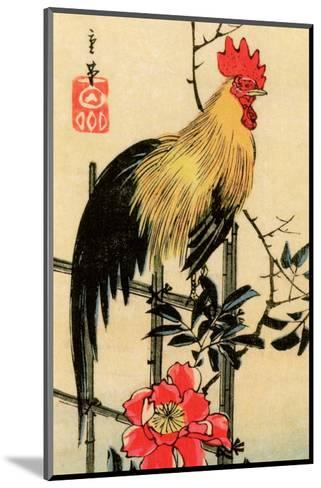 Rooster on Trellis for Climbing Rose, 1854-Utagawa Hiroshige-Mounted Art Print