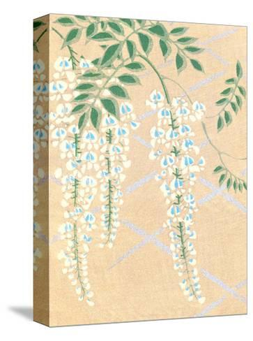 Japanese Textile Woodblock, Wisteria--Stretched Canvas Print