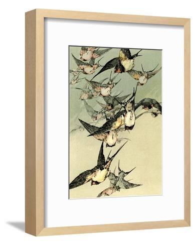 Art Nouveau Flight of Birds, Plate 5-Jules-Auguste Habert-Dys-Framed Art Print