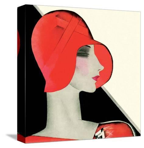 Art Deco Woman with Red Hat-Helen Dryden-Stretched Canvas Print