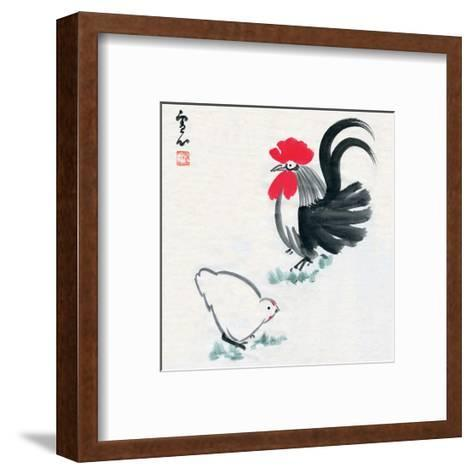 Rooster and Chicken--Framed Art Print
