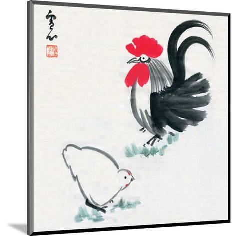 Rooster and Chicken--Mounted Art Print