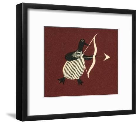 Vintage Russian Matchbox Label, Penguin Bringing Love--Framed Art Print