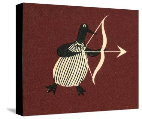 Vintage Russian Matchbox Label, Penguin Bringing Love--Stretched Canvas Print
