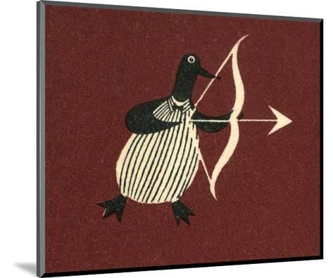 Vintage Russian Matchbox Label, Penguin Bringing Love--Mounted Art Print