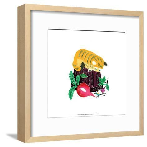 Chinese Paper Cut, Yellow Cat on Basket--Framed Art Print