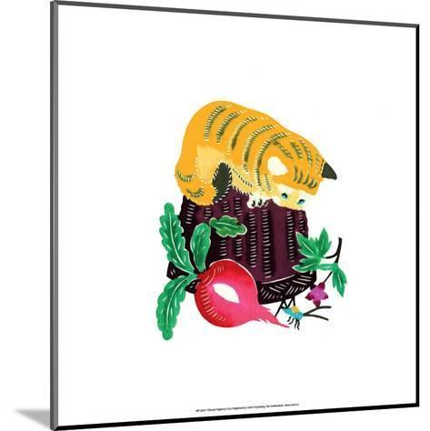 Chinese Paper Cut, Yellow Cat on Basket--Mounted Art Print