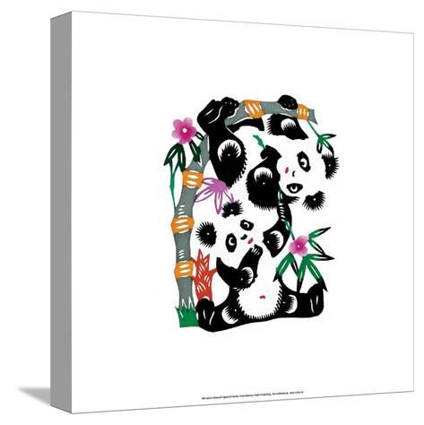 Chinese Paper Cut, Two Playful Pandas--Stretched Canvas Print