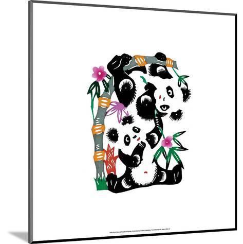 Chinese Paper Cut, Two Playful Pandas--Mounted Art Print
