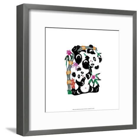 Chinese Paper Cut, Two Playful Pandas--Framed Art Print