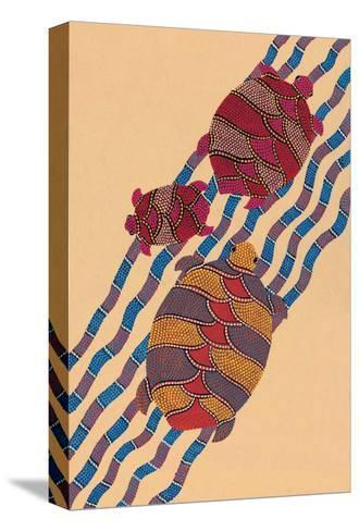 India Folk Art, Turtles--Stretched Canvas Print
