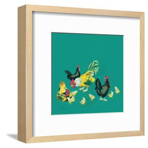 Mid-Century Modern Wallpaper,Rooster,Chickens and Chicks--Framed Art Print