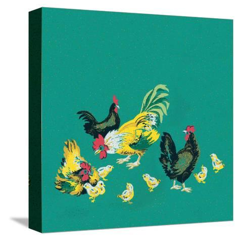 Mid-Century Modern Wallpaper,Rooster,Chickens and Chicks--Stretched Canvas Print