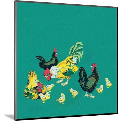 Mid-Century Modern Wallpaper,Rooster,Chickens and Chicks--Mounted Art Print