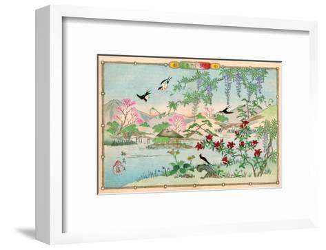 Various Birds and Flowers in a Mountainous Landscape-Rinsai Utsushi-Framed Art Print