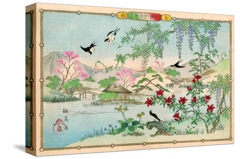 Various Birds and Flowers in a Mountainous Landscape-Rinsai Utsushi-Stretched Canvas Print