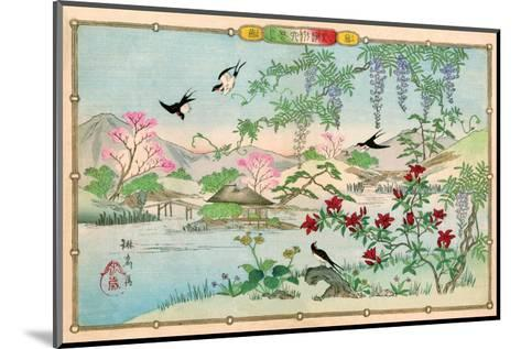 Various Birds and Flowers in a Mountainous Landscape-Rinsai Utsushi-Mounted Art Print