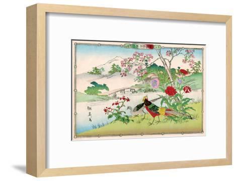 Golden Pheasants and Poppies-Rinsai Utsushi-Framed Art Print