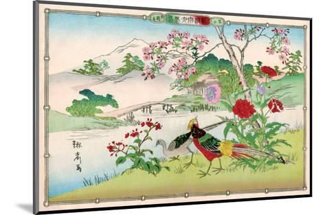 Golden Pheasants and Poppies-Rinsai Utsushi-Mounted Art Print