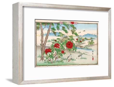 Pigeons among Peonies-Rinsai Utsushi-Framed Art Print