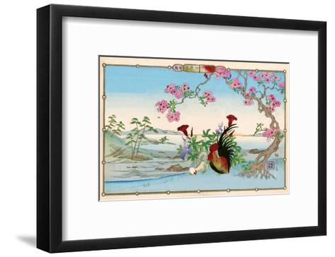 Chicken and Rooster under Cherry Blossom-Rinsai Utsushi-Framed Art Print
