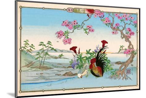 Chicken and Rooster under Cherry Blossom-Rinsai Utsushi-Mounted Art Print