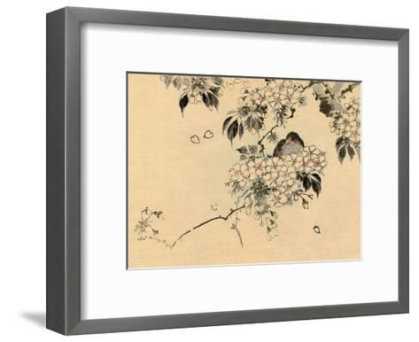 Japanese Bird in Cherry Blossom Nest-Haruna Kinzan-Framed Art Print