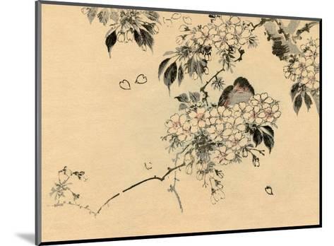 Japanese Bird in Cherry Blossom Nest-Haruna Kinzan-Mounted Art Print