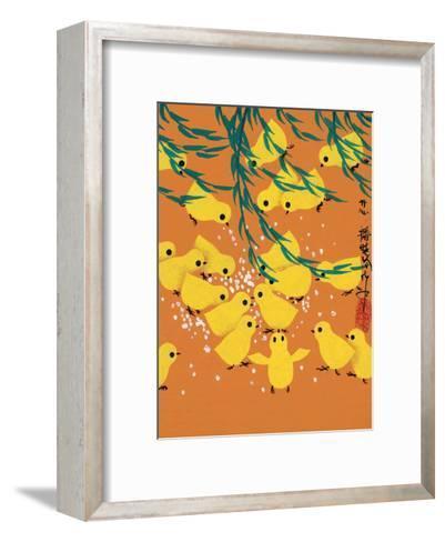 Chinese Folk Art - Yellow Chicks Pecking at Grain--Framed Art Print