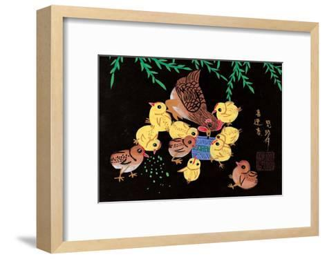 Chinese Folk Art - Mother Chicken with Baby Chicks--Framed Art Print