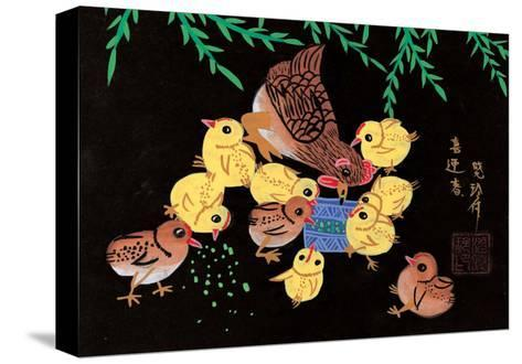Chinese Folk Art - Mother Chicken with Baby Chicks--Stretched Canvas Print
