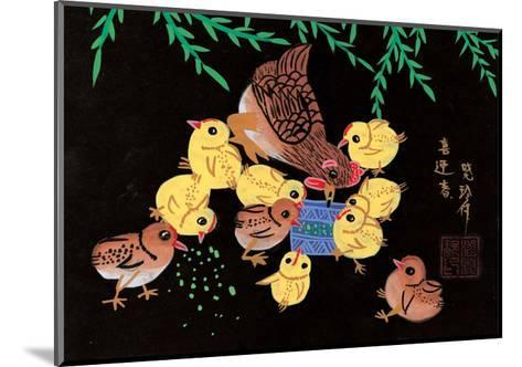 Chinese Folk Art - Mother Chicken with Baby Chicks--Mounted Art Print