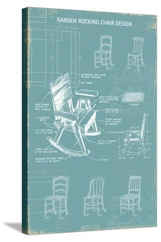 Rocking Chair Blueprint-The Vintage Collection-Stretched Canvas Print