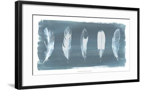 Feathers on Dusty Teal I-Grace Popp-Framed Art Print