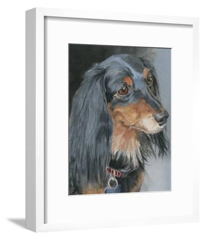 Natalie Long-haired Dachshund-Edie Fagan-Framed Art Print