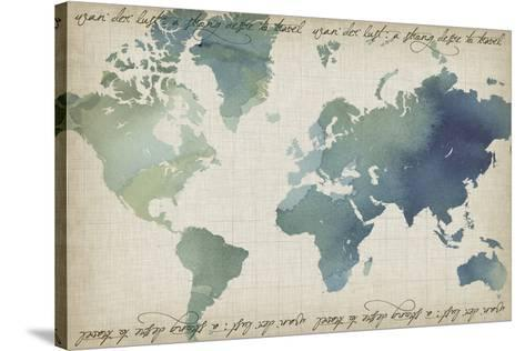 Watercolor World Map-Grace Popp-Stretched Canvas Print