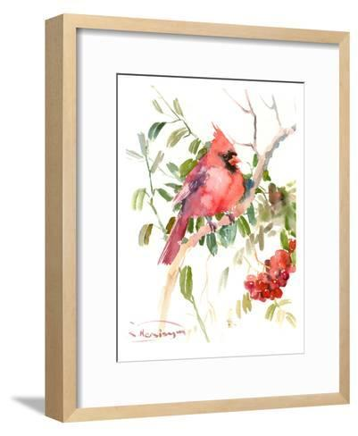 Northern Cardinal And Berries-Suren Nersisyan-Framed Art Print
