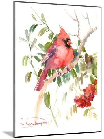 Northern Cardinal And Berries-Suren Nersisyan-Mounted Art Print