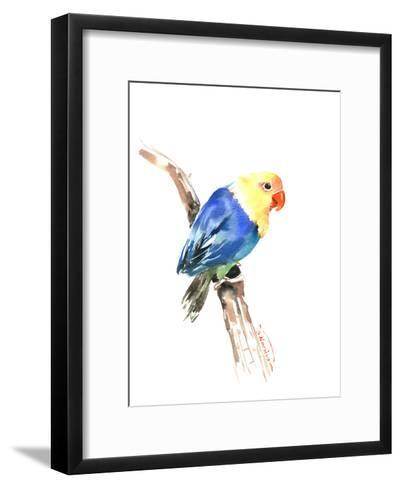 Blue Yellow Lovebird-Suren Nersisyan-Framed Art Print