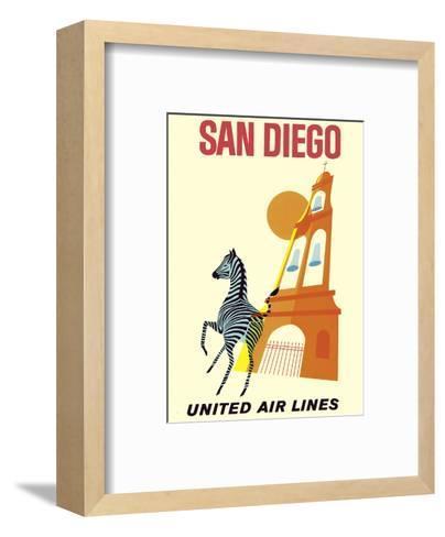 San Diego, California - Zebra - San Diego Zoo - Balboa Park - United Air Lines--Framed Art Print