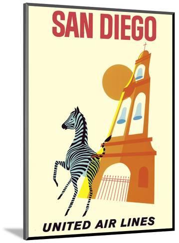 San Diego, California - Zebra - San Diego Zoo - Balboa Park - United Air Lines--Mounted Art Print