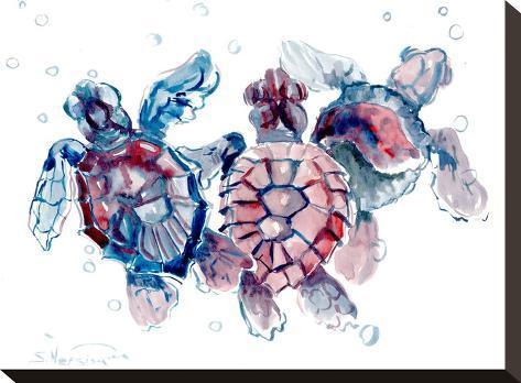 Baby Sea Turtles-Suren Nersisyan-Stretched Canvas Print