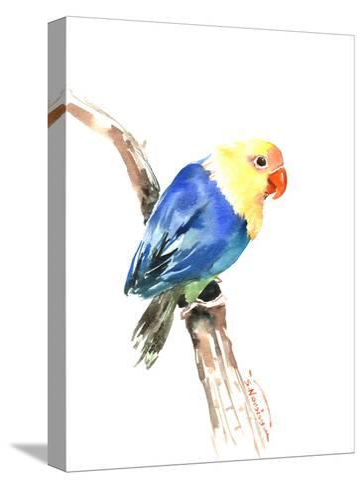 Blue Yellow Lovebird-Suren Nersisyan-Stretched Canvas Print