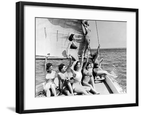 Beauties on sail boat-Underwood-Framed Art Print