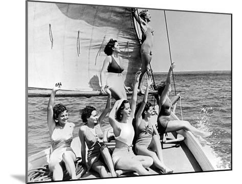 Beauties on sail boat-Underwood-Mounted Giclee Print