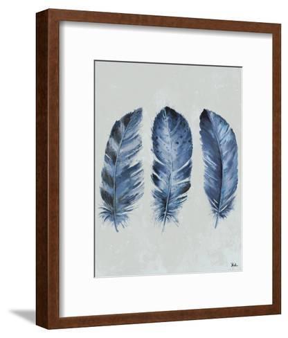 Indigo Blue Feathers II-Patricia Pinto-Framed Art Print