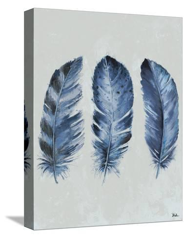Indigo Blue Feathers II-Patricia Pinto-Stretched Canvas Print