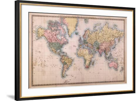 Map - Mercators Projection--Framed Art Print