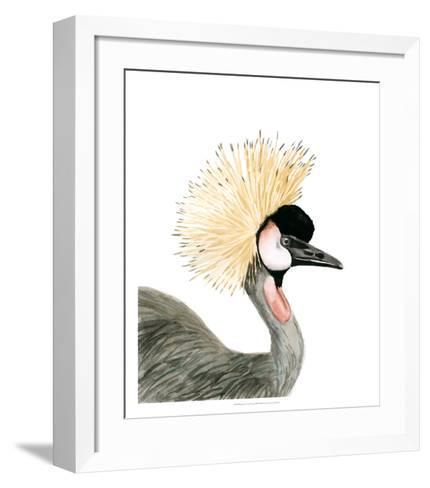 Watercolor Crested Crane-Naomi McCavitt-Framed Art Print